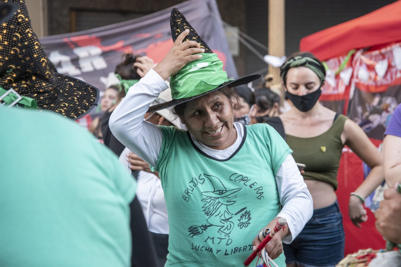People celebrate the Argentine senate's legalization of abortions on Dec. 30, 2020.