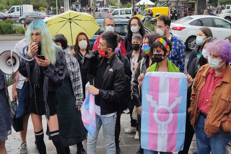 Activists from Pembe Hayat LGBTI Solidarity Association attempt to hold a press conference before being dispersed by police. | Can Eren