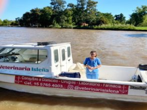 For veterinarian Leila Peluso López, a day at the office includes boating down the Paraná River to tend to patients.