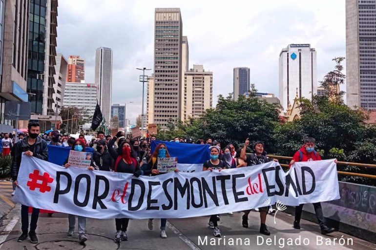 For the dismantling of the Esmad (Mobile Anti-Riot Squad). Young people demonstrate in the streets of Bogotá against the police violence carried out within the framework of the 2021 National Strike.