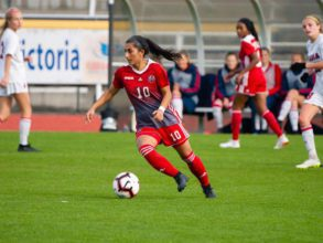 Farkhunda Muhtaj, 23, dribbles the ball for the York University Lions in Toronto, Canada. Muhtaj was instrumental in helping evacuate 26 Afghan Junior Women's Team players and their families to safety in August.