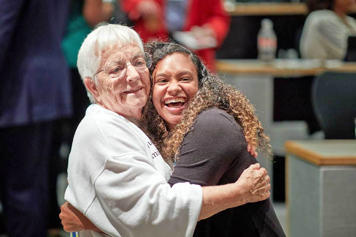 """Racial justice activist Jane Elliott, whose 1968 """"Blue eyes–Brown eyes"""" exercise exposed students to the irrational and arbitrary basis of prejudice, delivered the keynote address at the 2019 Diversity Week. After the event, Elliott met with attendees."""