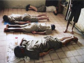 Boys are made to lay face down at a Troubled Teen Industry compound. Photo courtesy WWASPS Survivors.